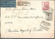 SPAIN Duenas Airmail Registered 1947 Cover send to Argentina