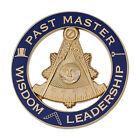 Past Master Leadership Round Masonic Auto Emblem - [Blue & Gold][3'' Diameter]
