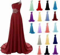 New One Shoulder Chiffon Prom Dresses Formal Evening Party Bridesmaid Gown 6-20