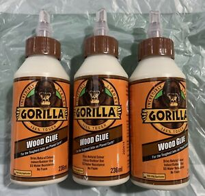 3 X Gorilla 236ml Wood Glue 100% Tough