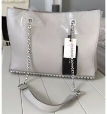 Zara Chalk Grey Studded Leather Tote Hand Shoulder Bag Bnwt