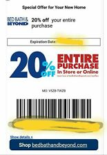 BED BATH &BEYOND 20% Entire Purchase No Exp E mail Delivery FAST  COUPO N
