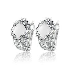 White Gold Plated & Clear Crystal Stone Hoops Women Earrings E999
