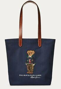 Ralph Lauren Polo Preppy Bear Logo Leather Navy Tote Shoulder Messenger Bag NWT