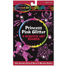 Melissa and Doug Princess Pink Glitter Scratch Art - Arts and Crafts for Kids