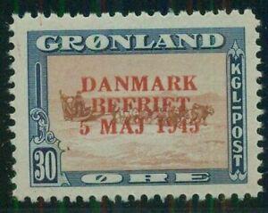 GREENLAND #24a (24v2) 30ore Dog Sled, Wrong Color Ovpt, og, LH, VF, Scott $200.