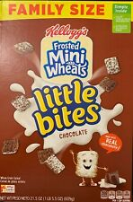 NEW KELLOGGS FAMILY SIZE FROSTED MINI WHEATS LITTLE BITES CHOCOLATE CEREAL 21 OZ