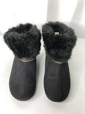 Isotoner women's size 8.5-9 slipper boots black faux suede w/fur memory foam