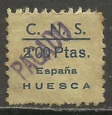 7520A-SELLO CUOTA C.N.S, FALANGE ESPAÑOLA HUESCA 2 PESETAS,GUERRA CIVIL ESPAÑA.