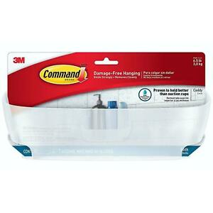 3M Command Bathroom Shower Caddy & Water Resistant Strips, Frosted, Strong Hold