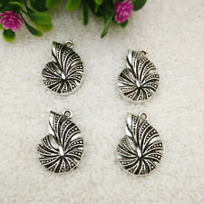 6pcs ammonite fossil spiral sea shell Tibetan Silver Bead charms Pendants @2