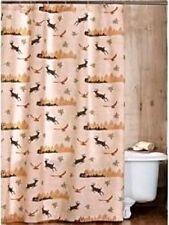 "Tan Green Mountain Retreat Lodge Deer Birds Fabric Shower Curtain 72"" X 72"" Nwt"