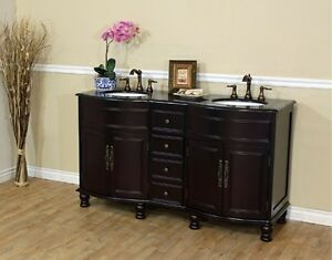 62in Black Galaxy / Baltic Brown Double Sink Bathroom Vanity ***FREE SHIPPING***