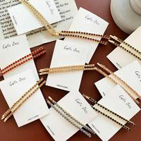 2x Girl Women Rhinestone Hair Clip Diamond Bar Crystal Letters Hair Pin Hairclip
