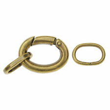 Large Oval Lobster Clasp, with 2 Jump Rings 20x15mm, 1 Set, Antiqued Brass Plate