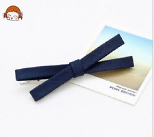 New Deep Blue Bow Hair Barrette Handmade Pretty Cute