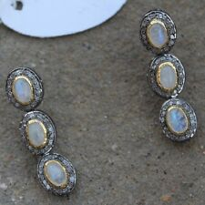 Natural Rosecut Diamond Rainbow Moonstone 18k Gold Earrings Jewelry