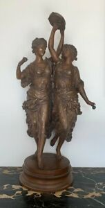 Antique 19th France Ernest Rancoulet The Tambourine Dancers Large Figurine 56cm