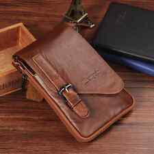 Real Genuine Leather Belt Pouch Bag Men Small Crossbody Messenger Phone Brown