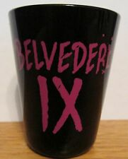 BELVEDERE lX   BLACK & PINKISH  CERAMIC SHORT SHOT GLASS