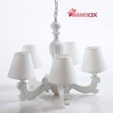 LAMPADARIO in legno BIANCO 5 bracci paralume lampada sospensione soffitto Shabby