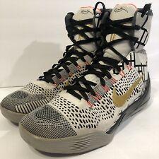 Nike Kobe IX 9 Elite High Fundamentals White Gold Black 630847 100 sz 10