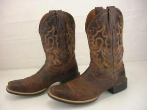 Men's 9 D M Ariat Heritage Reinsman Weathered Brown Leather Cowboy Boots Western
