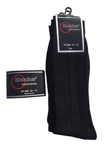 6 ,12 pairs Lot  Knocker Men's Solid BLACK Dress Socks Size 10-13