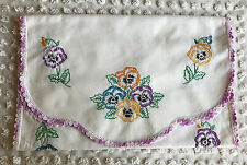Vintage Runner Pansies Purple Yellow and Blue Measures 15 x 36 Scalloped Ends