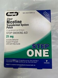 7 Rugby Nicotine Transdermal System Patch 21mg Step 1 Stop Smoking Patch