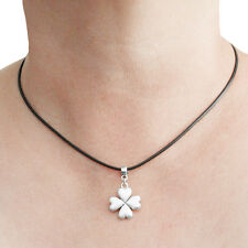 Four Leaf Clover Charm Pendant Necklace with Black Cord