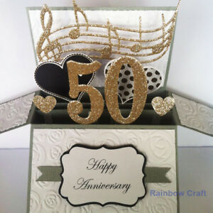 Handmade 50 Anniversary card / golden wedding anniversary / number personalised