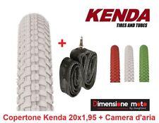 """1 Copertone KENDA 20x1,95 K-RAD Bianco + 1 Camera d'aria per Bici 20"""" Pieghevole"""