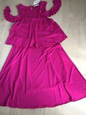 Cold-Shoulder-Kleid edc Esprit Gr M 38 NEU Volant Stufen Pink Fuchsia