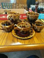 8 cups and 1 saucers Canonsburg Carefree Ironstone BROWN DRIP