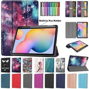 """For Samsung Galaxy Tab S6 Lite 10.4"""" P610 Smart Leather Case Cover w Pencil Slot"""
