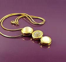 18K Gold Filled Stylish Italian Mother of Pearl 18ct GF Slider Pendant 38mm