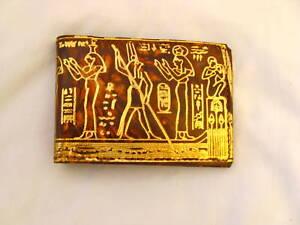 Egyptian Genuine Leather Men Handmade Gold Embossed Wallet Pharaoh Design #119