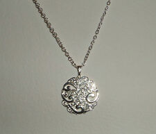 SWIRLY FILIGREE SILVER PLATED PENDANT AND CHAIN - WAVES SURF SEA
