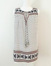 NWT $100 Max Studio Top Blouse Tunic SizeL White Blue Red Floral Relaxed Tassel