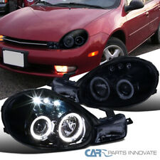 LED Halo Glossy Black For 00-02 Dodge Plymouth Neon Smoke Projector Headlights