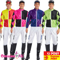Mens Jockey Horse Costume Racing Rider Melbourne Cup Uniform Goggles Whips Dress