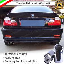 COPPIA TERMINALI DI SCARICO PER MARMITTA CROMATO INOX BMW SERIE 3 E46