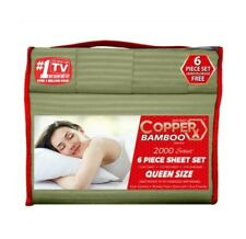 Copper X Bamboo Bed Sheet 6 PIECE SET!!! Queen Size DEEP POCKETS Wrinkle Free!!!