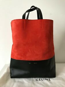 Authentic Old CELINE Leather Black Red Suede Bicolor Cabas Vertical Tote Bag
