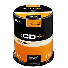 INTENSO CD-R GRABABLE MEDIA 100 EJE PAQUETE 52X VELOCIDAD 700MB 1.3 HORA