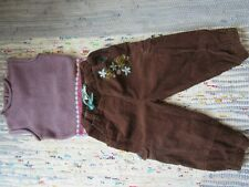 Baby MEXX sleeveless purple top & FRANSA KIDS brown cord trousers 18-24 months