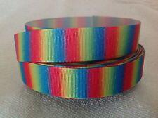 Rainbow 23mm Grosgrain  Ribbon  3 Meters Length  HairBows Craft Scrapbook