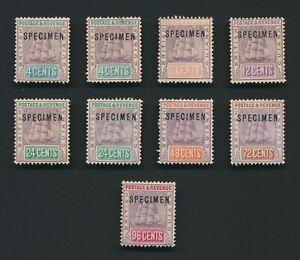 BRITISH GUIANA STAMPS 1889-1904 SHIPS, SPECIMEN SURCHARGES TO 96c, MINT OG VF