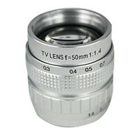 50mm Silver F1.4 CCTV TV Lens C Mount For GF3 GF2 GF1 G3 EP1 2 EPL1 2 C7C4